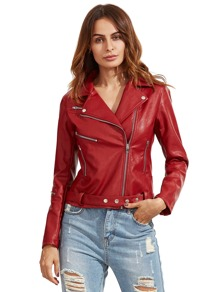 Red Long Sleeve Lapel Zipper Jackets