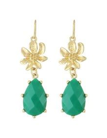 Green Gemstone Flower Drop Earrings