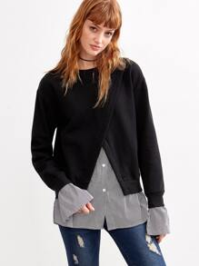 Black Contrast Striped Trim 2 In 1 Sweatshirt