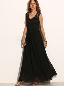 Lace Overlay Full Length Dress