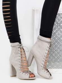 Lace Up Stacked Heel Boots LIGHT GREY