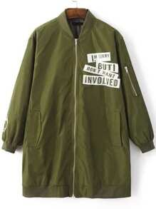 Army Green Letter Print Zipper Up Longline Bomber Jacket