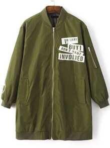 Army Green Letter Print Zipper Up Longline Bomber Jacket