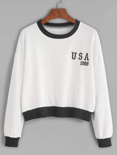 White Embroidered Contrast Trim Crop Sweatshirt