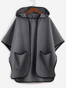 Grey Contrast Binding Open Front Hooded Poncho Coat