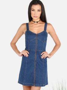 Zip Front Denim A-Line Mini Dress DENIM