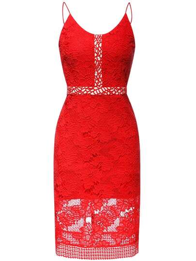 Red Spaghetti Strap Crochet Hollow Out Dress