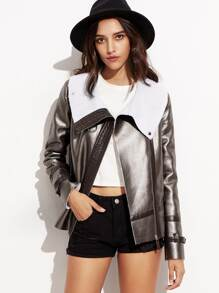Metallic Faux Leather Zip Up Aviator Jacket