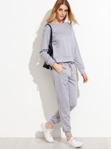 Grey Slit Side High Low Top With Pants