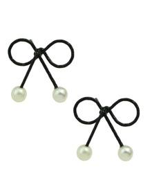 Black Pearl Bow Stud Earrings