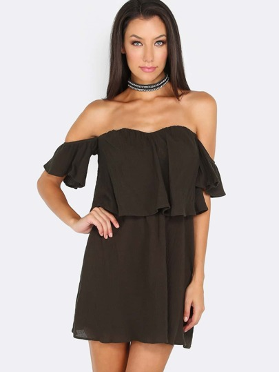 Off Shoulder Bardot Dress OLIVE