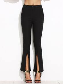 Black Split Front Flare Pants