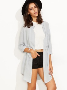 Grey Self Tie Button Front Curved Hem Shirt Dress