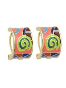 Orange Enamel Geometric Earrings