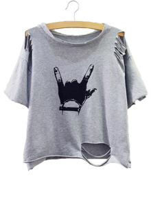 Grey Gesture Print Distressed T-shirt