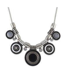 Black Beads Round Statement Necklace