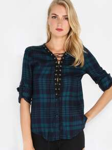 Strappy Plaid Top NAVY