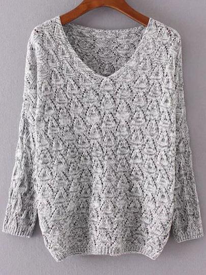 Jersey holgado texturado con escote V - gris