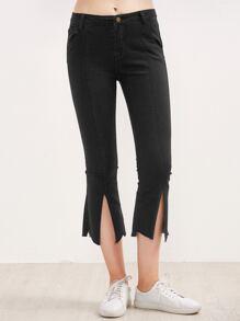 Black Split Front Raw Hem Flare Jeans