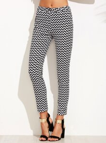 Black And White Chevron Print Skinny Ankle Pants