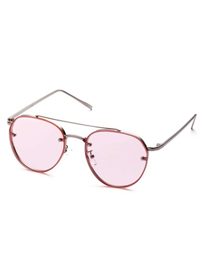 Metal Frame Double Bridge Pink Lens Aviator Sunglasses