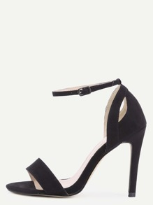 Black Faux Suede Ankle Strap High Heeled Sandals
