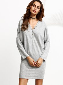 Heather Grey V Neck Batwing Sleeve Button Front Dress