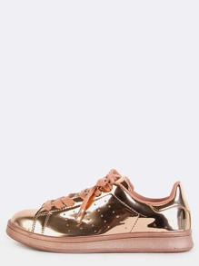 Metallic Lace Up Sneakers ROSE GOLD