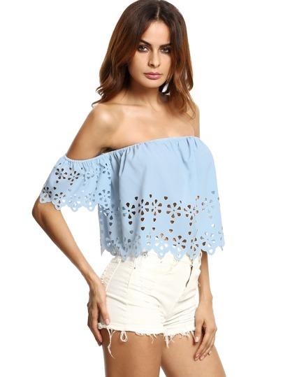Blusa con hombros al aire hueca crop - azul