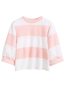 Color Block Elbow Sleeve Sweatshirt
