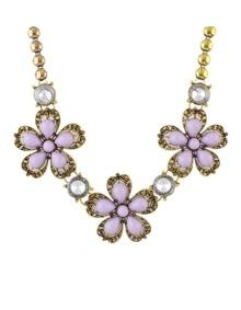 Purple Stone Flower Shourouk Necklace