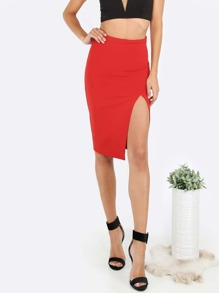 Red Split Side High Waist Pencil Skirt