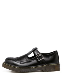 Scarpe Con Fibbia Toe Rotondo Vintage - Nero