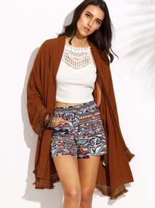 Brown Tassel Hem Drawstring Long Sleeve Outerwear