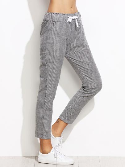 Pantalones a rayas verticales cintura con cordón - gris