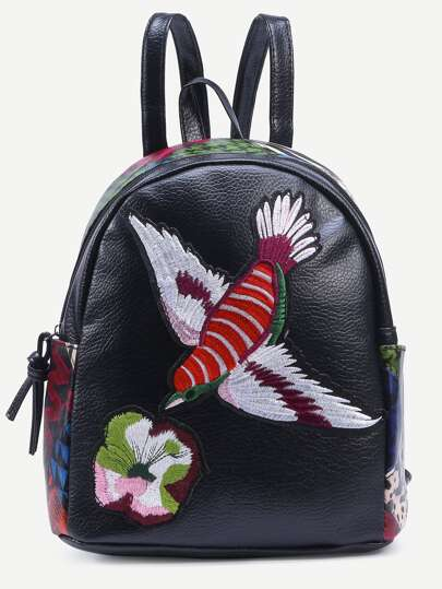 Black Bird Embroidered Patchwork Backpack