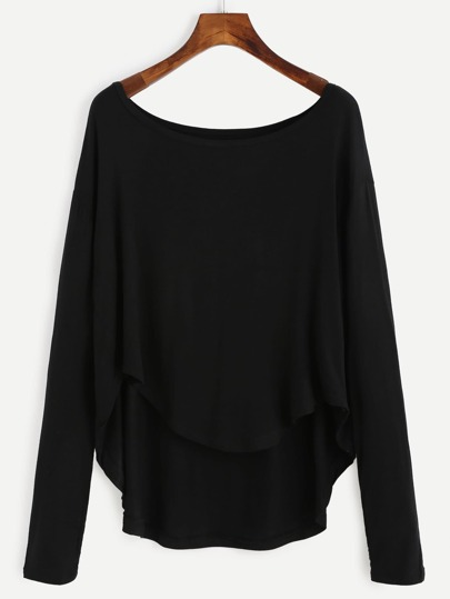 Black Drop Shoulder Dip Hem T-shirt