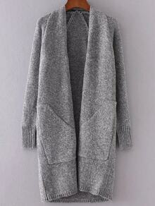 Grey Collarless Raglan Sleeve Long Sweater Coat With Pockets