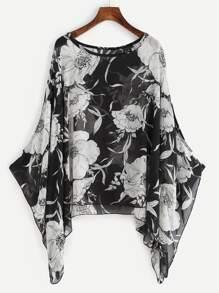 Black Random Floral Loose Chiffon Top