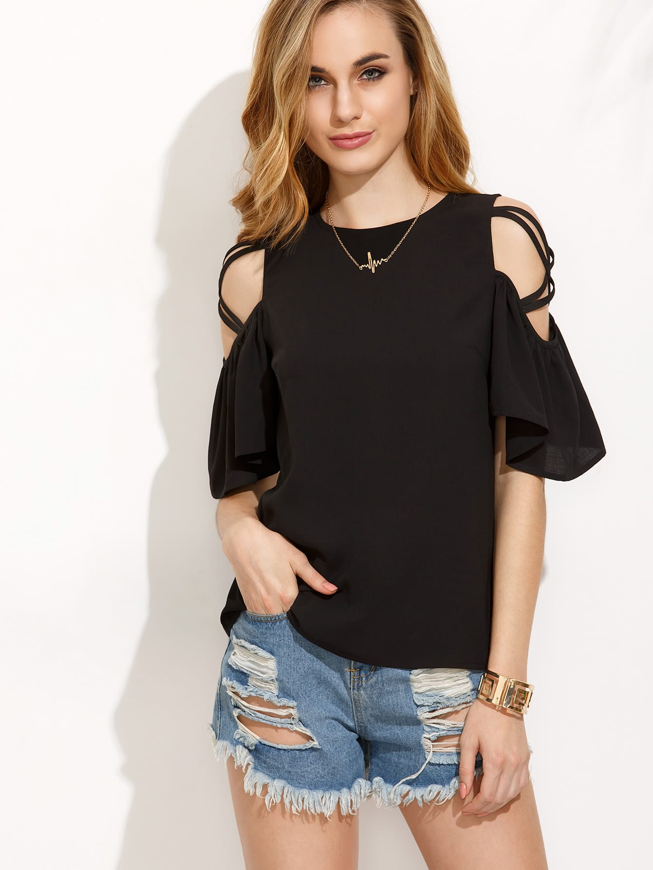 Open Shoulder Ruffle Sleeve Button Keyhole Back Top thumbnail