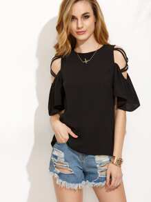 Crisscross Shoulder Ruffle Sleeve Button Keyhole Back Blouse