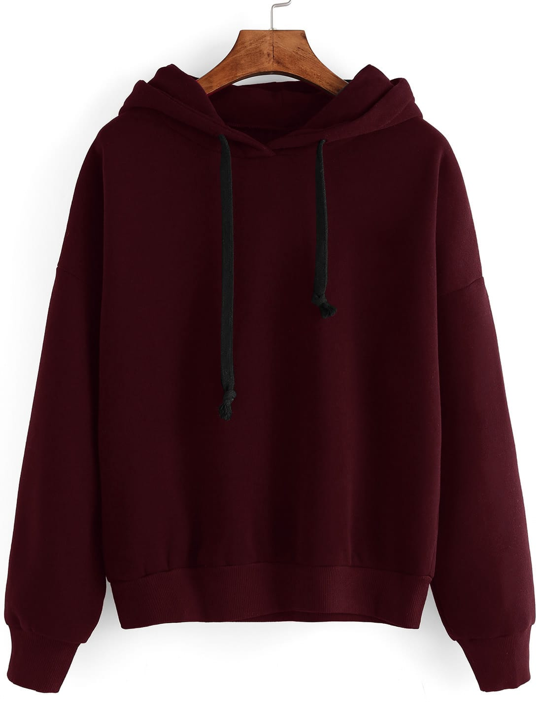 Contrast Drawstring Drop Shoulder Hooded Sweatshirt drop shoulder ripped hooded crop sweatshirt
