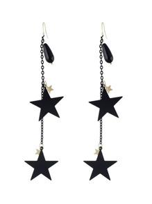 Metal Star Pendant Long Chain Earrings