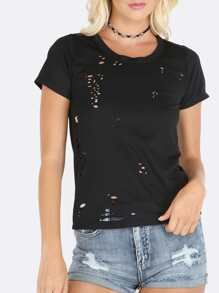 Black Ripped Cut Out Back Short Sleeve T-shirt