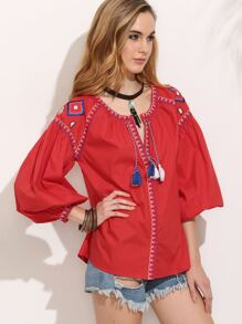 Red Tassel Embroidered Long Sleeve Blouse