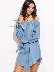 Blue Off The Shoulder Tie Cuff Denim Dress