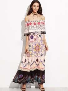 Floral Print Cold Shoulder Mesh Hem Fringe Layered Dress