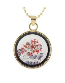 Red Flower Shape Round Pendant Necklace