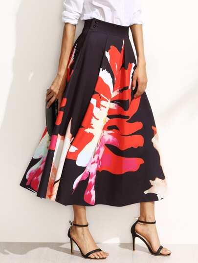 Falda midi línea A estampado floral