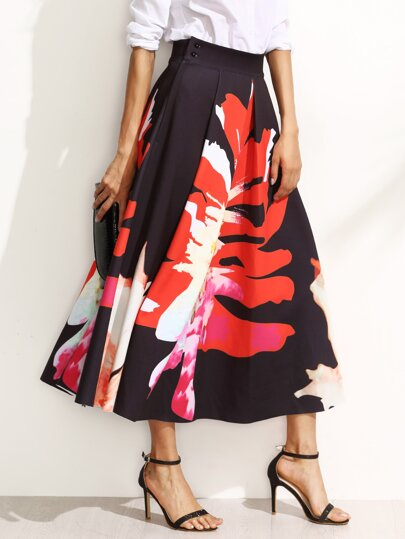 Floral Print Pleated A-Line Midi Skirt -SheIn(Sheinside)